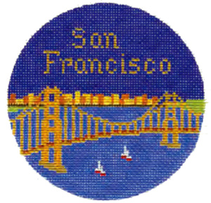 San Francisco Hand Painted Miniature Needlepoint Canvas