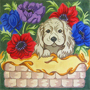 Puppy in Flower Basket Hand Painted Needlepoint Cushion Canvas