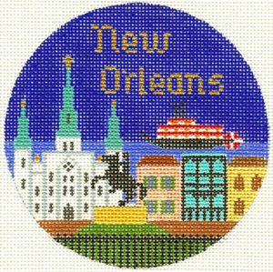New Orleans Hand Painted Miniature Needlepoint Canvas