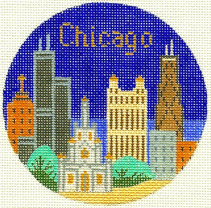 Chicago Hand Painted Miniature Needlepoint Canvas