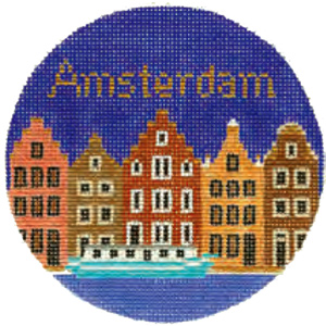 Amsterdam Hand Painted Miniature Needlepoint Canvas