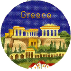 Greece Hand Painted Miniature Needlepoint Canvas