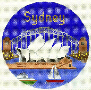Sydney Hand Painted Miniature Needlepoint Canvas