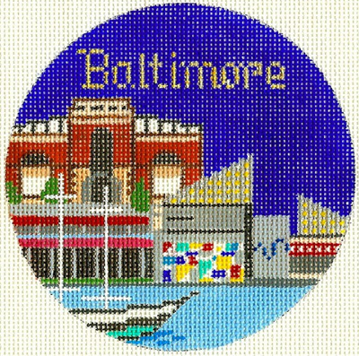 Baltimore Hand Painted Miniature Needlepoint Canvas