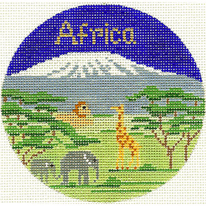 Africa Hand Painted Ornament Needlepoint Canvas