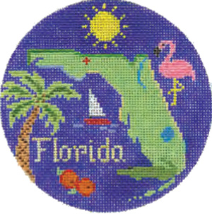 Florida Hand Painted Miniature Needlepoint Canvas