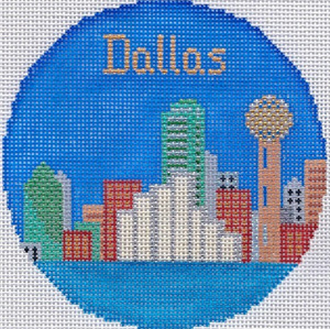 Dallas Hand Painted Miniature Needlepoint Canvas