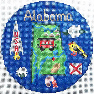 Alabama Hand Painted Ornament Needlepoint Canvas