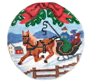 Sleigh Ride Ornament Hand Painted Miniature Needlepoint Canvas
