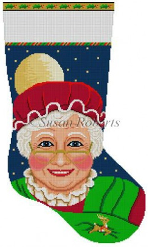 Susan Roberts Needlepoint Designs - Hand-painted Christmas Stocking - Mrs. Clause (Face) Stocking