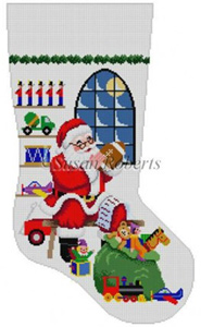Susan Roberts Needlepoint Designs - Hand-painted Christmas Stocking - Santa Sitting in Front of Window (for a Boy) Stocking