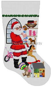 Susan Roberts Needlepoint Designs - Hand-painted Christmas Stocking - Santa Standing in Front of Window (for a Girl) Stocking