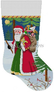 Susan Roberts Needlepoint Designs - Hand-painted Christmas Stocking - Walking Stick Santa Stocking