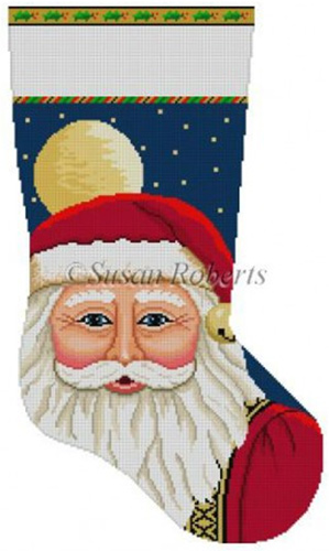 Susan Roberts Needlepoint Designs - Hand-painted Christmas Stocking - Santa Face with Moon Stocking