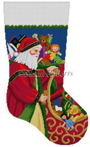 Susan Roberts Needlepoint Designs - Hand-painted Christmas Stocking - Santa at Sleigh Stocking