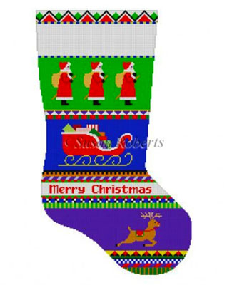 Susan Roberts Needlepoint Designs - Hand-painted Christmas Stocking - Bold Stripe Santa Stocking