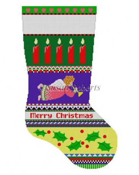 Susan Roberts Needlepoint Designs - Hand-painted Christmas Stocking - Bold Stripe Angel Stocking