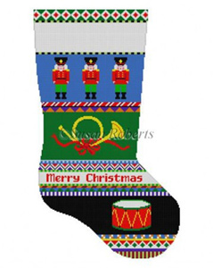 Susan Roberts Needlepoint Designs - Hand-painted Christmas Stocking - Bold Stripe Nutcracker Stocking