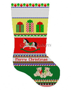 Susan Roberts Needlepoint Designs - Hand-painted Christmas Stocking - Bold Stripe Rocking Horse Stocking