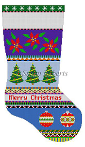 Susan Roberts Needlepoint Designs - Hand-painted Christmas Stocking - Bold Stripe Poinsettias and Ornaments Stocking