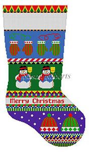 Susan Roberts Needlepoint Designs - Hand-painted Christmas Stocking - Bold Stripe Snowman, Hats and Mittens Stocking