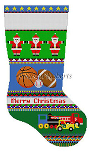 Susan Roberts Needlepoint Designs - Hand-painted Christmas Stocking - Bold Stripe Sport Balls and Trucks Stocking