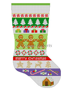 Susan Roberts Needlepoint Designs - Hand-painted Christmas Stocking - Christmas Goodies Stripe Stocking