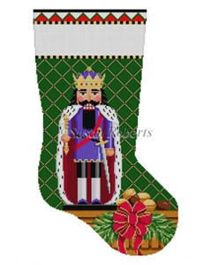 Susan Roberts Needlepoint Designs - Hand-painted Christmas Stocking - King Arthur Nutcracker Stocking
