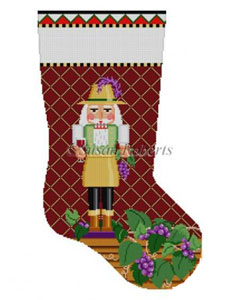 Susan Roberts Needlepoint Designs - Hand-painted Christmas Stocking - Wine Maker Nutcracker Stocking