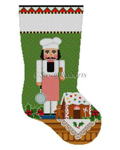 Susan Roberts Needlepoint Designs - Hand-painted Christmas Stocking - Chef Nutcracker Stocking