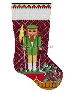 Susan Roberts Needlepoint Designs - Hand-painted Christmas Stocking - Golfer Nutcracker Stocking