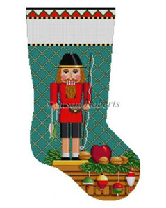 Susan Roberts Needlepoint Designs - Hand-painted Christmas Stocking - Fisherman Nutcracker Stocking