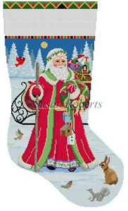 Susan Roberts Needlepoint Designs - Hand-painted Christmas Stocking - Santa Birdhouse Delivery Stocking