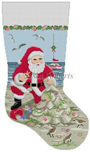 Susan Roberts Needlepoint Designs - Hand-painted Christmas Stocking - Santa and the Sandcastle Christmas Tree Stocking