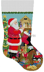Susan Roberts Needlepoint Designs - Hand-painted Christmas Stocking - Santa and the Nativity Scene Stocking