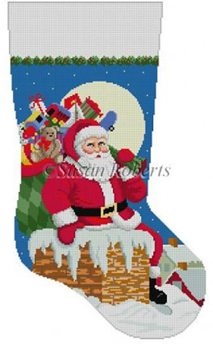 Susan Roberts Needlepoint Designs - Hand-painted Christmas Stocking - Santa, Down the Chimney for Boys Stocking