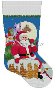 Susan Roberts Needlepoint Designs - Hand-painted Christmas Stocking - Santa, Down the Chimney for Girls Stocking