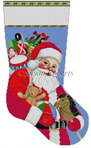Susan Roberts Needlepoint Designs - Hand-painted Christmas Stocking - Santa Carrying Toys Stocking