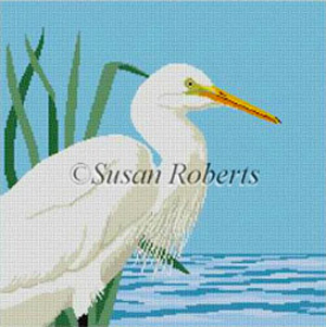 Susan Roberts Needlepoint Designs - Hand-painted Canvas - Snowy Egret with Perle Cotton Kit