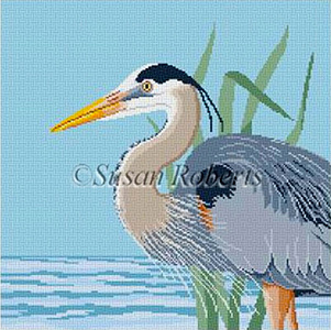 Susan Roberts Needlepoint Designs - Hand-painted Canvas - Great Blue Heron
