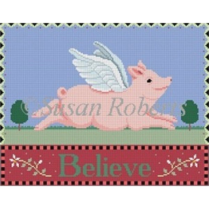 Susan Roberts Needlepoint Designs - When Pigs Fly (Believe)