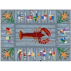 Susan Roberts Needlepoint Designs - Hand-painted Canvas - Lobster & Buoys