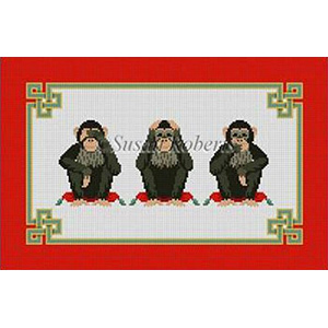 Susan Roberts Needlepoint Designs - Monkeys, See/Hear/Speak No Evil
