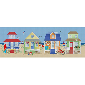 Susan Roberts Needlepoint Designs - Hand-painted Canvas -  Beach Houses