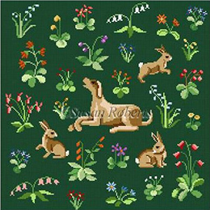 Susan Roberts Hand Painted Needlepoint Canvas - Cluny Rabbits & Hound - Square