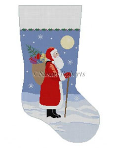 Susan Roberts Needlepoint Designs - Hand-painted Christmas Stocking - Moonlit Santa Stocking