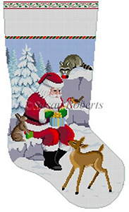 Susan Roberts Needlepoint Designs - Hand-painted Christmas Stocking - Santa and Animals Wrapping Presents