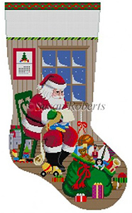 Susan Roberts Needlepoint Designs - Hand-painted Christmas Stocking - Sitting Santa Checking His List, Boys Stocking