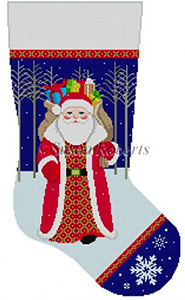 Susan Roberts Needlepoint Designs - Hand-painted Christmas Stocking - Santa Walking From Woods