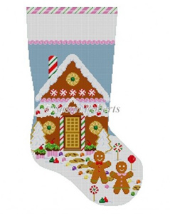 Susan Roberts Needlepoint Designs - Hand-painted Christmas Stocking - Gingerbread House